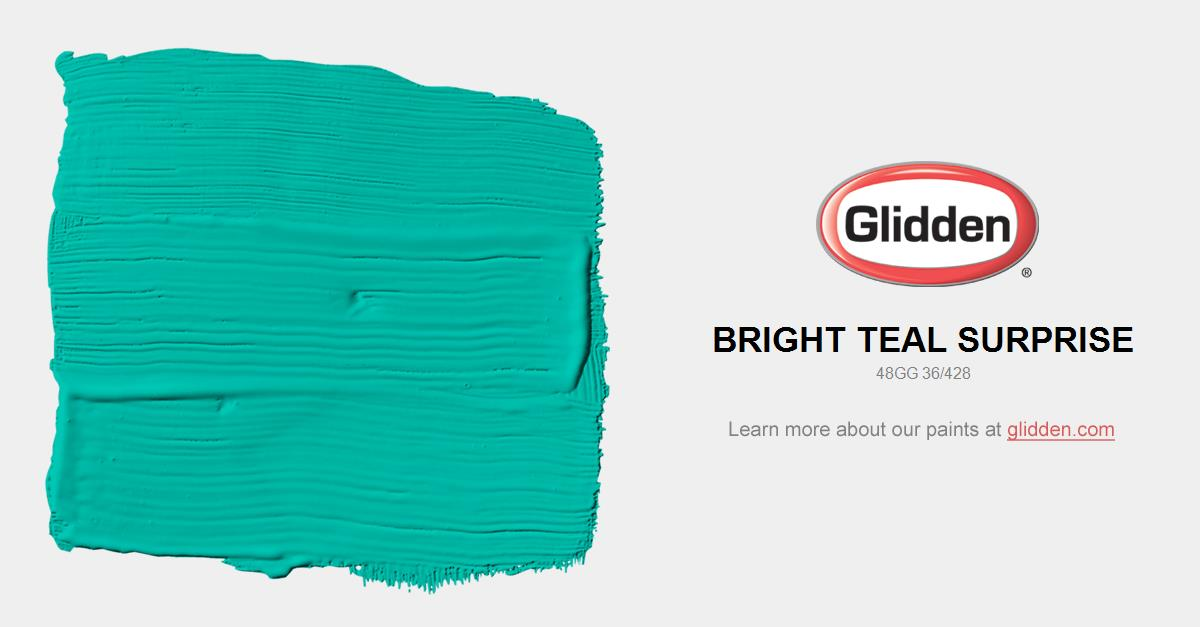 Bright Teal Surprise Paint Color Glidden Paint Colors